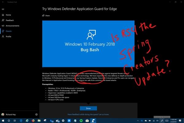 Windows 10春季创意者更新