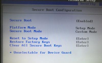 联想ThinkPad T470s电脑BIOS无法修改启动项和安全启动